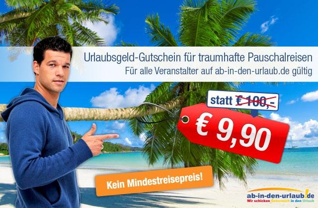 Wieder verfügbar: 100€ Ab-in-den-Urlaub Gutschein für 9,99€