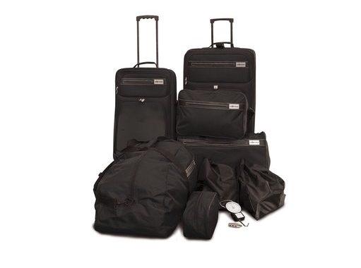 Oramics 10-teiliges Koffer und -Reiseset in Schwarz oder Blau für 49,90€ bei MeinPaket