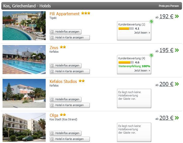 Nur eine kleine Auswahl an verschiedenen Hotel auf weg.de