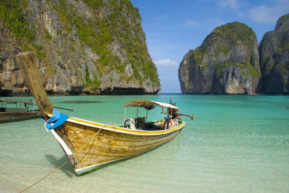 Phuket Thailand Meer Boot Felsen Strand