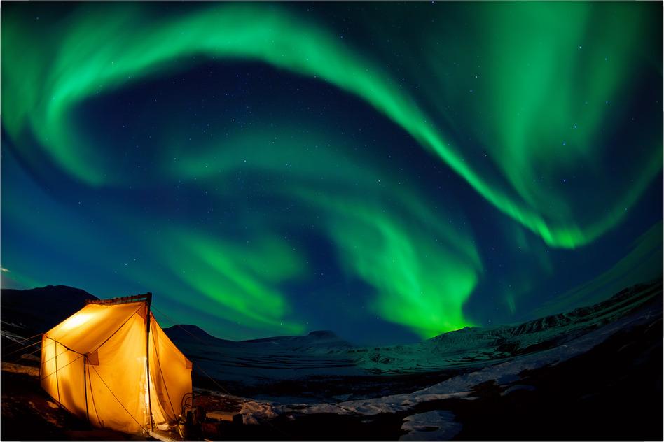 Northern lights Nordlicht Island Camping Iceland Norwegen Schweden Finnland