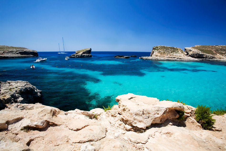 Malta Felsen Meer Lagune Mittelmeer Bucht