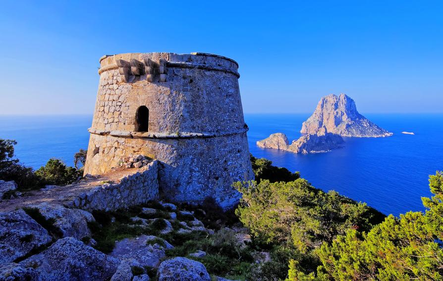 Ibiza Küste Meer Felsen Ruine