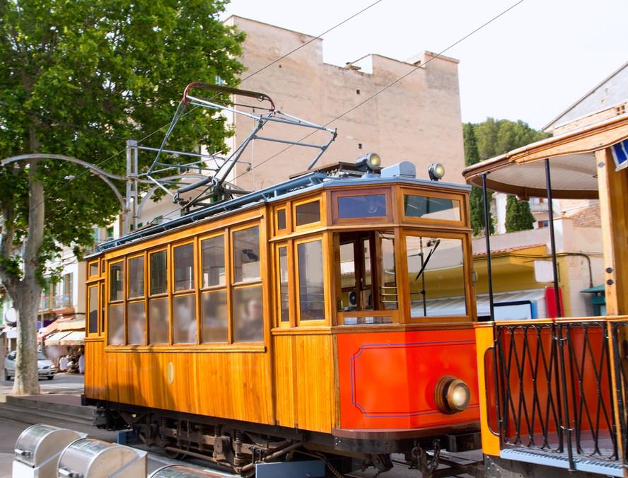 Classic wood tram train of Puerto de Soller in Mallorca