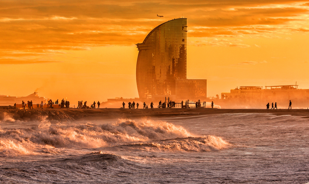Barcelona Strand Sonnenuntergang