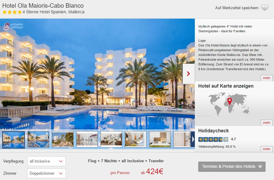 8 tage mallorca im 4 hotel inkl flug all inclusive und transfer ab 424. Black Bedroom Furniture Sets. Home Design Ideas