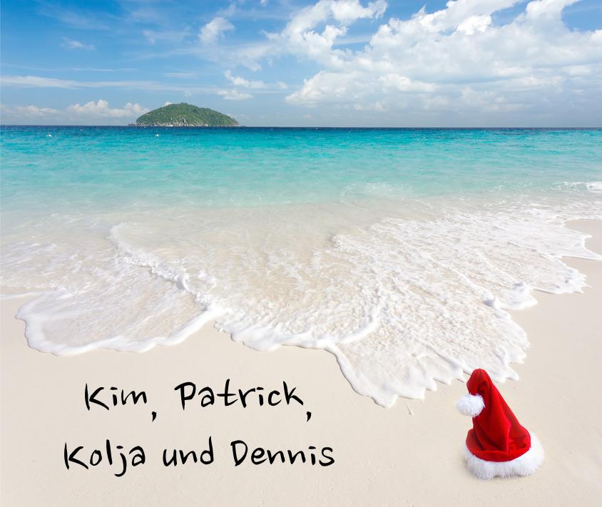 Santa Claus on white sand tropical beach, ko similan island, Thailand