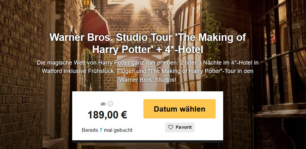 3 4 tage london inkl hotel fr hst ck flug und warner bros studio tour 39 the making of harry. Black Bedroom Furniture Sets. Home Design Ideas