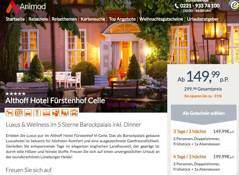 3 - 4 Tage im 5* Althoff Hotel Fürstenhof Celle inkl. Frühstück ...