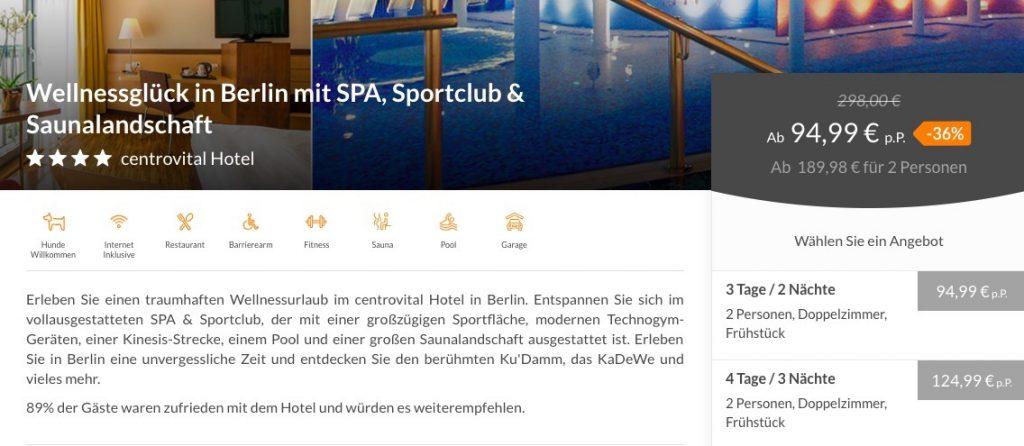 3 4 Tage Berlin Im 4 Centrovital Hotel Inkl Frühstück Und