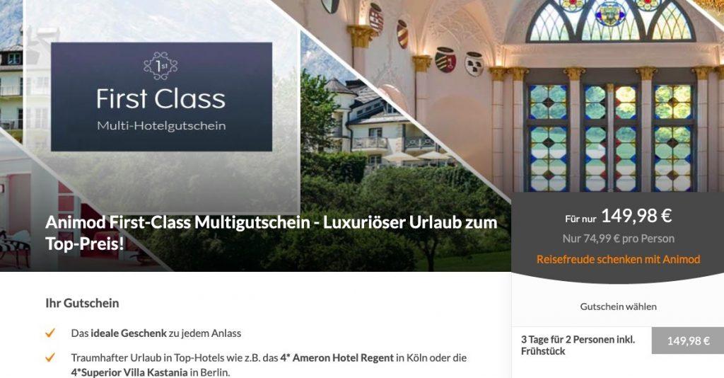 First Class Hotelgutschein Auf Animod 3 Tage Im 4 Hotel Inkl